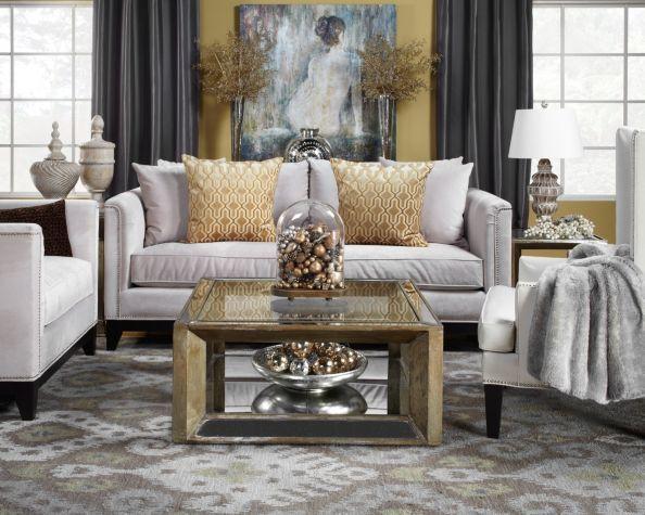 Elegant Christmas Living Room Soft Blue Gold Silver White Citrineliving Bloglovi White Living Room Decor Gold Living Room Decor Blue Living Room Decor