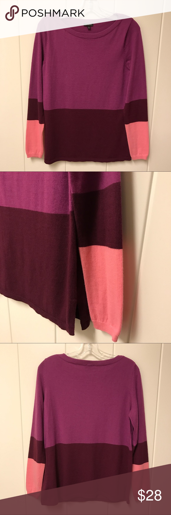 Talbots Purple Color Block Sweater Wool Blend M Fuchsia, purple and pink color blocked soft and warm sweater.  Material is 70% nylon, 30% wool.  Very good preowned condition. Talbots Sweaters Crew & Scoop Necks