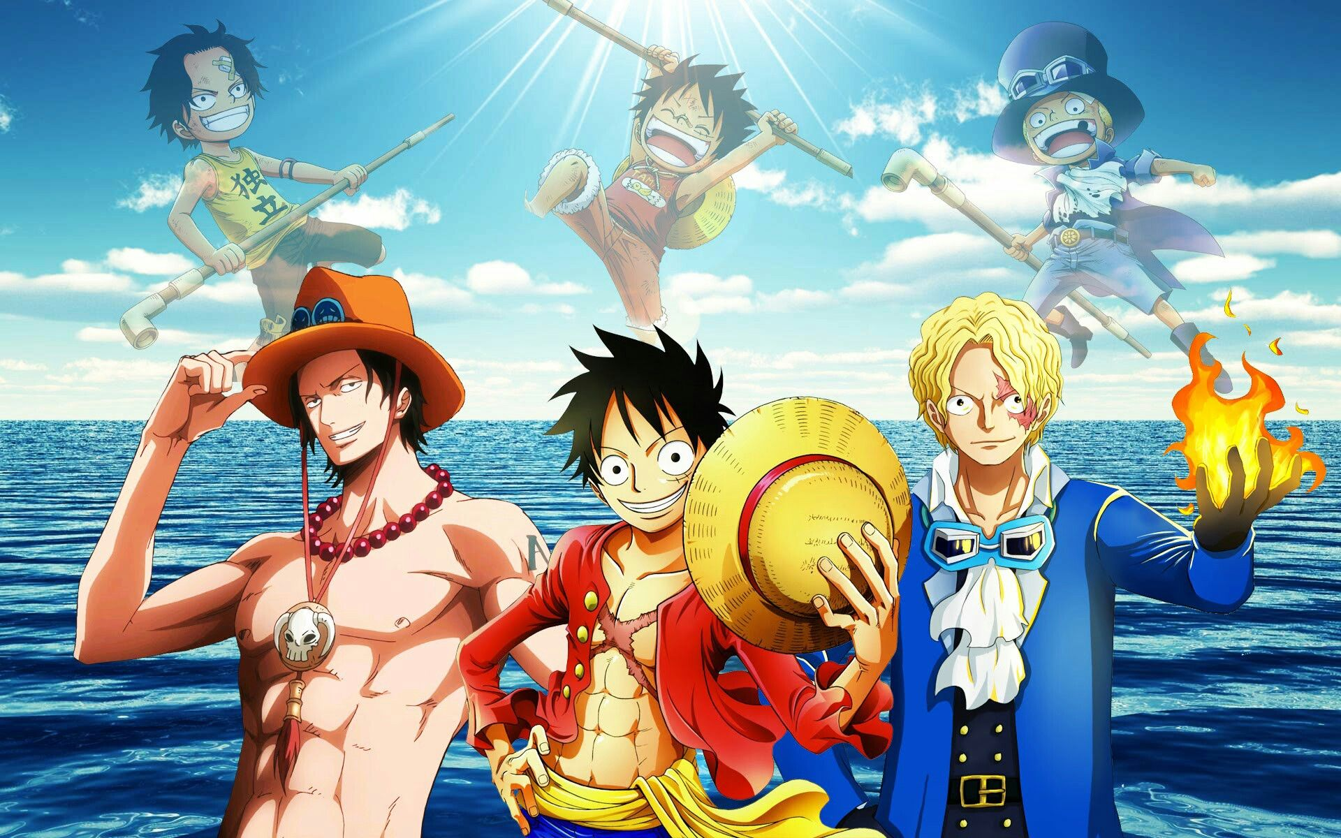 Luffy Ace Sabo Brothers Young Childhood Different Ages Time