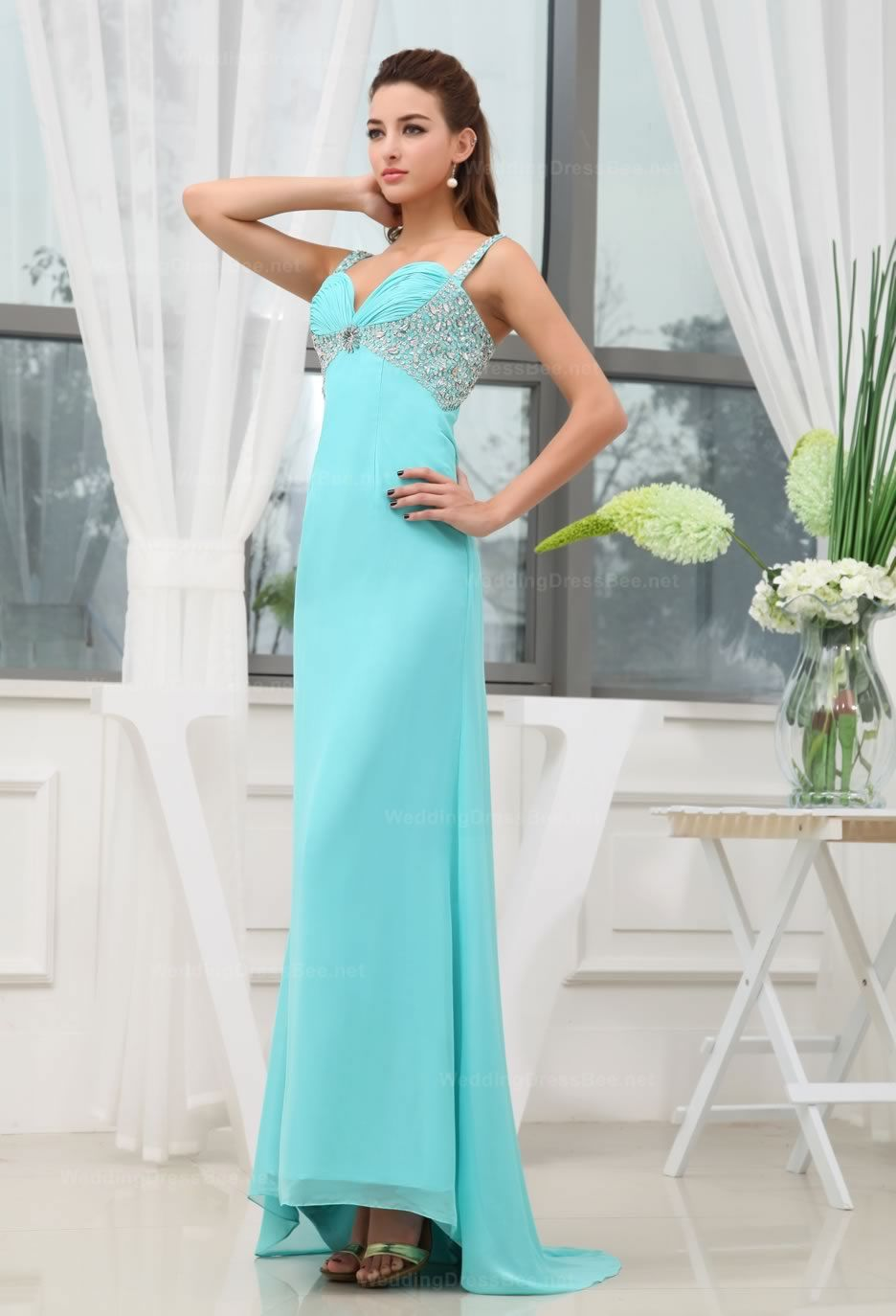 Spaghetti Straps With Beadind Decorate The Under Bust Part Chiffon ...