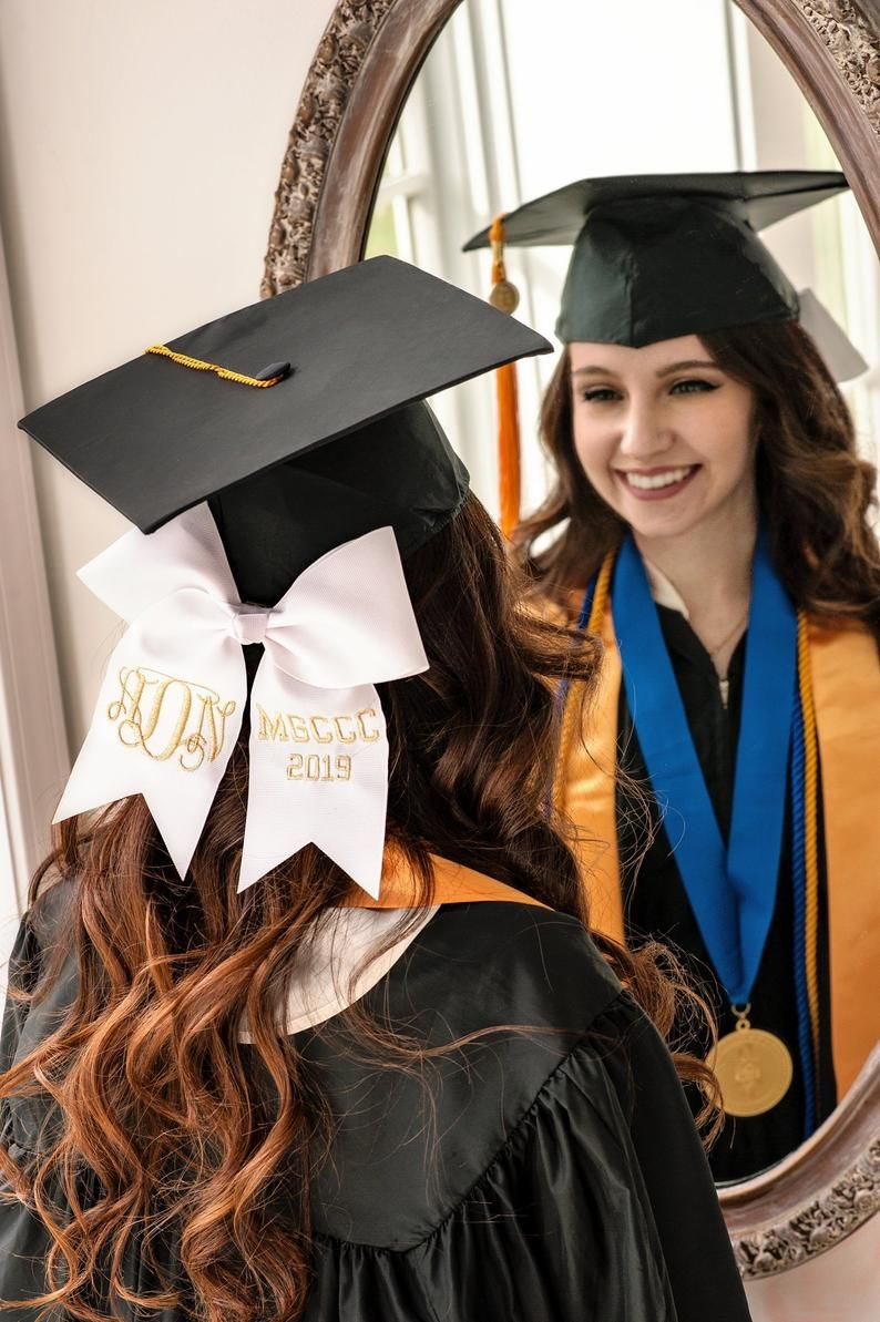 Graduation Bow Embroiderd With Metallic Thread Monogrammed Bow