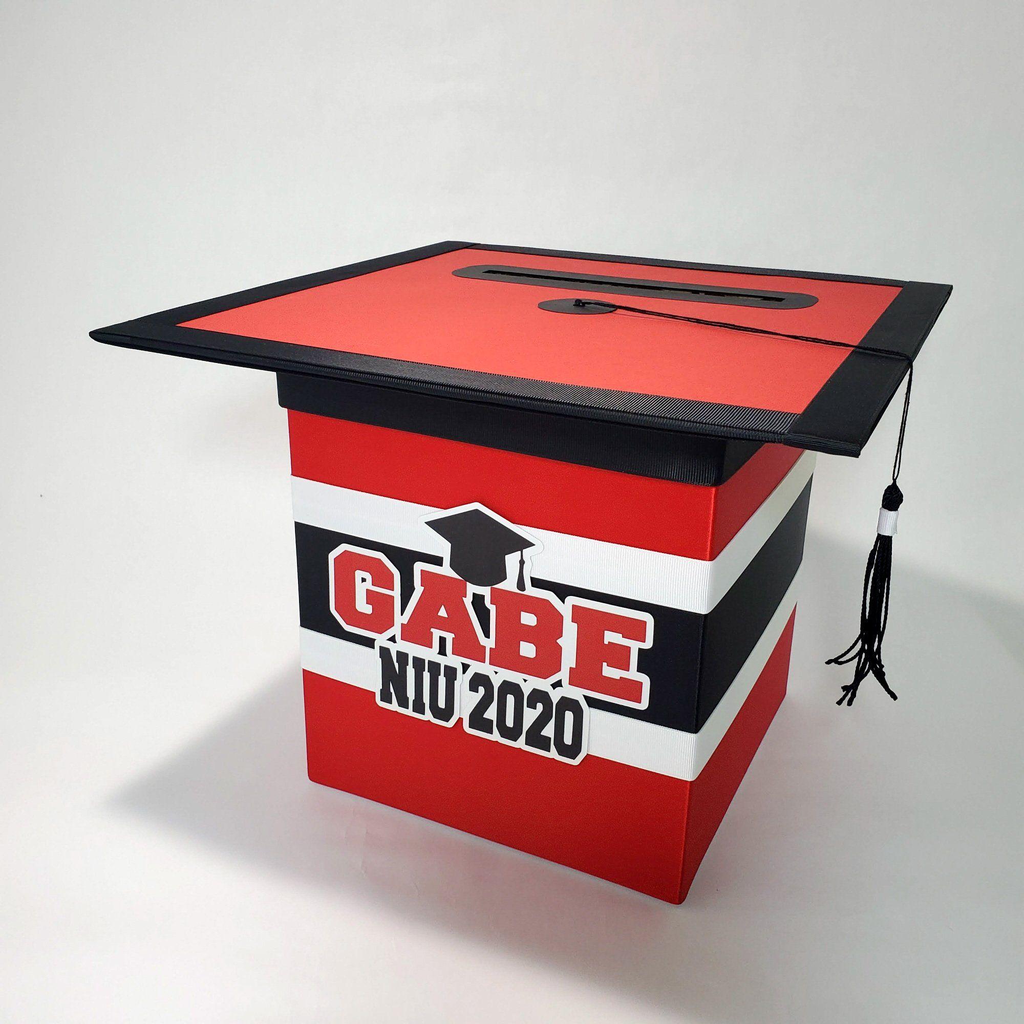 graduation cap card box  red black in 2020  graduation