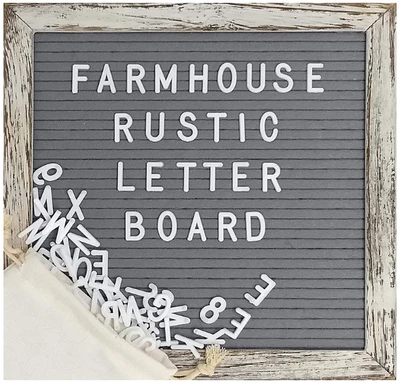 Felt Letter Board Set With 10x10 Inch Shabby Chic Farmhouse Rustic Wood Frame Gray Felt Changeable Message Board With 374 Precut White Letters Emojis Wall Hook Canvas Bag Stand In 2020