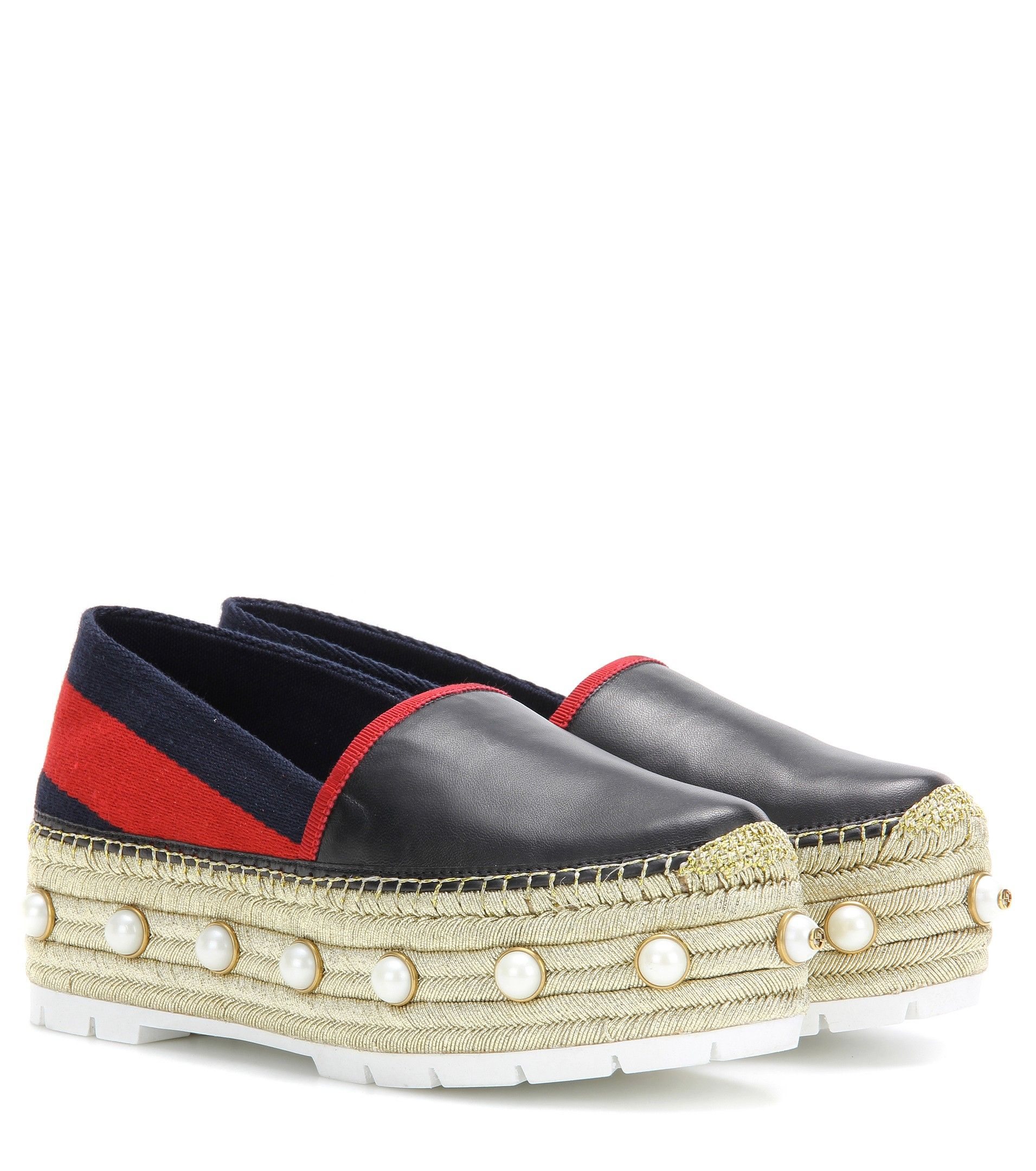 bacd4bc4cbce Gucci - Embellished leather platform espadrille - The metallic golden jute  sole is adorned with faux pearls