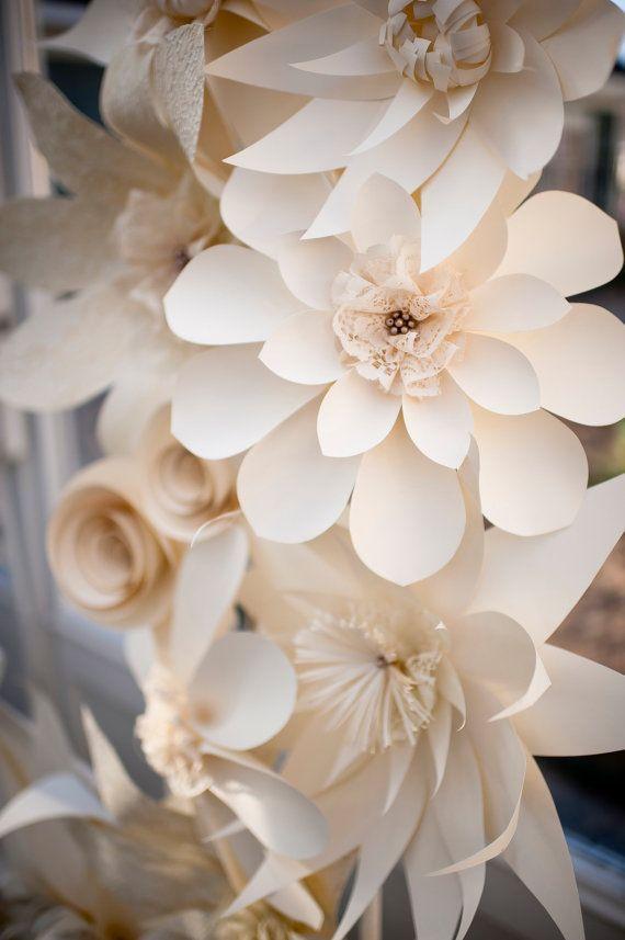 papier blume papier ornament b ttenpapier white flower lace perlen gro e hochzeit blume. Black Bedroom Furniture Sets. Home Design Ideas