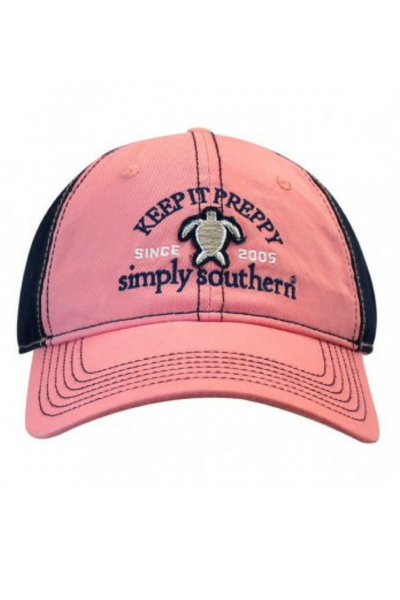 Stay preppy in this lovely Simply Southern ball cap. 65% Cotton and 35%  Polyester. One size fits most. f2e580c9d6e