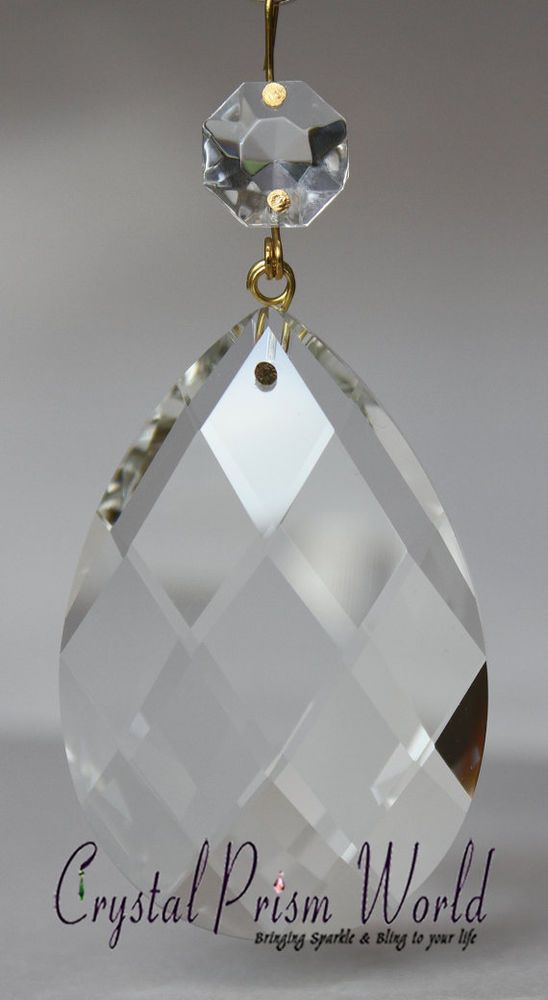 10pc Swiss Antique Replacement Chandelier Crystal Glass Prism Drop 2 75 Brass