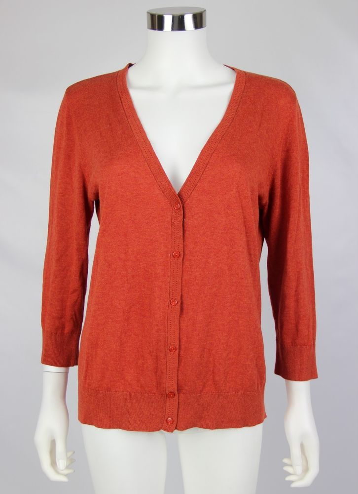 Ann Taylor LOFT Womens Large Orange Lightweight Cotton V-Neck ...