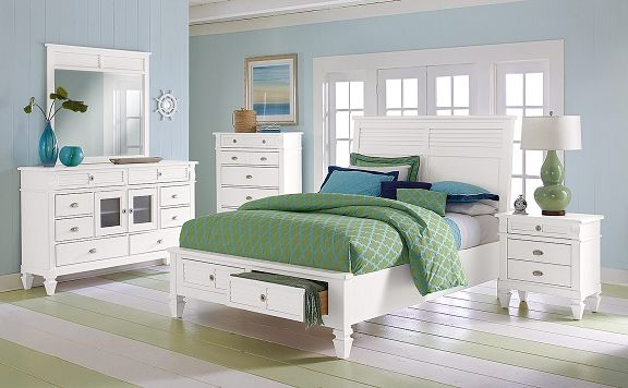 Charleston Bay White II Bedroom Collection Furniture-Queen