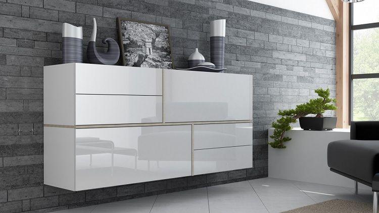 Sideboard Mit Wand-befestigung Für Das Minimalistische Wohnzimmer ... Wohnzimmer Weis Hochglanz