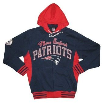 Official New England Patriots ProShop - GIII Grand Slam Full Zip Hood-Navy/Red
