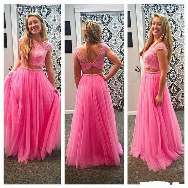 Junior Pretty Two Pieces Lace Pink Tulle Open Back Formal Cheap Long ...