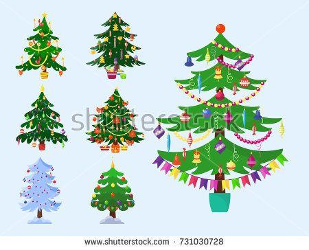 Pine Tree Cartoon Green Vector Winter Holiday Needle Leaf Trunk Fir Plant Natural Design Illustration Tree Designs Christmas Tree Design Christmas