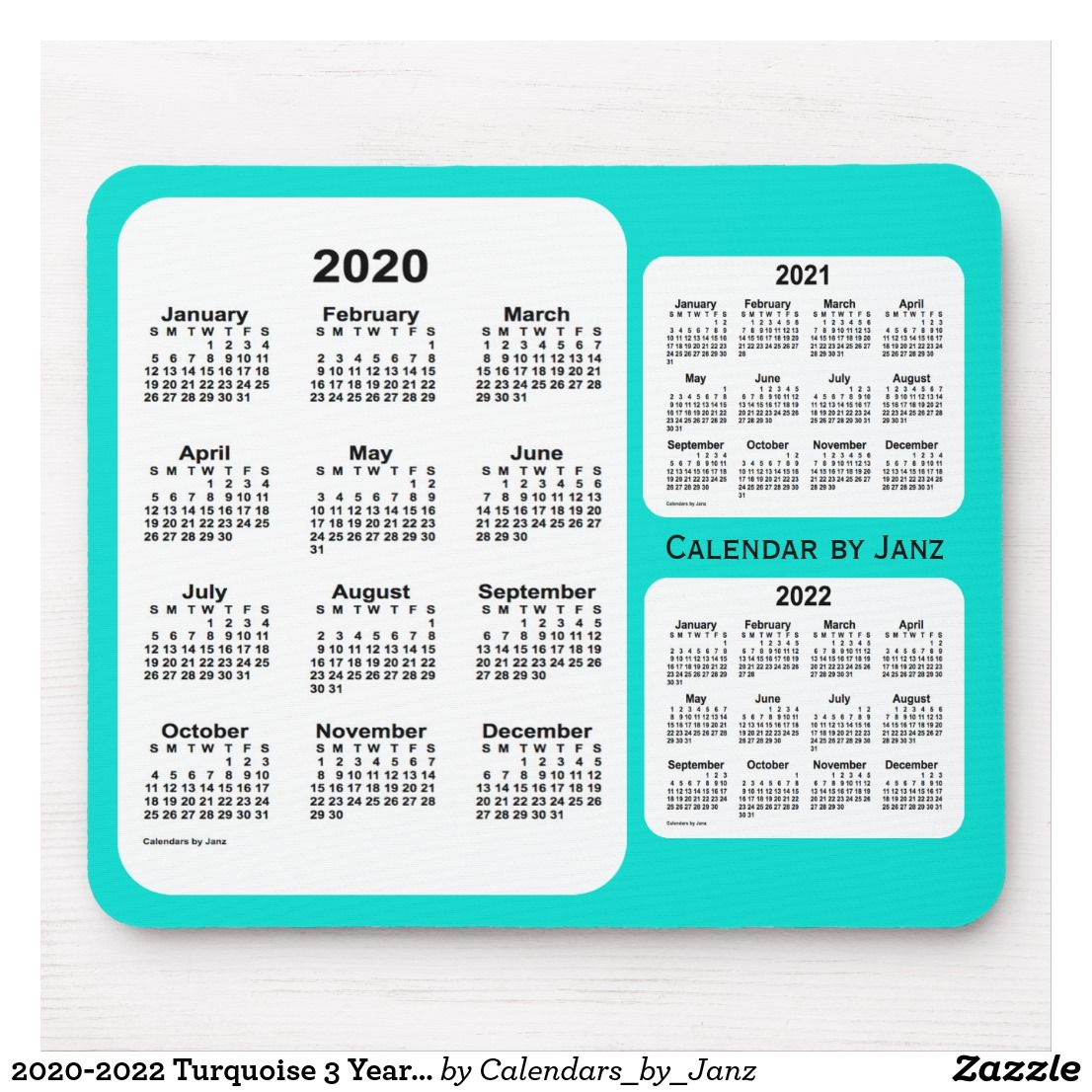 20202022 Turquoise 3 Year Calendar by Janz Mouse Pad