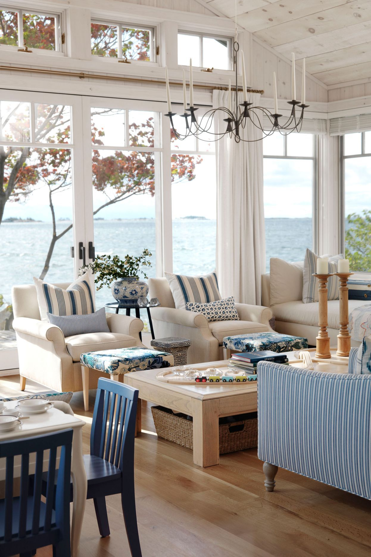 Coastal Living Room With Small Accent Decor Pieces Beach House