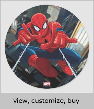 Spider Man Shooting Web High Above City Classic Round Sticker Zazzle Com Spiderman Images Spiderman Superhero Wallpaper