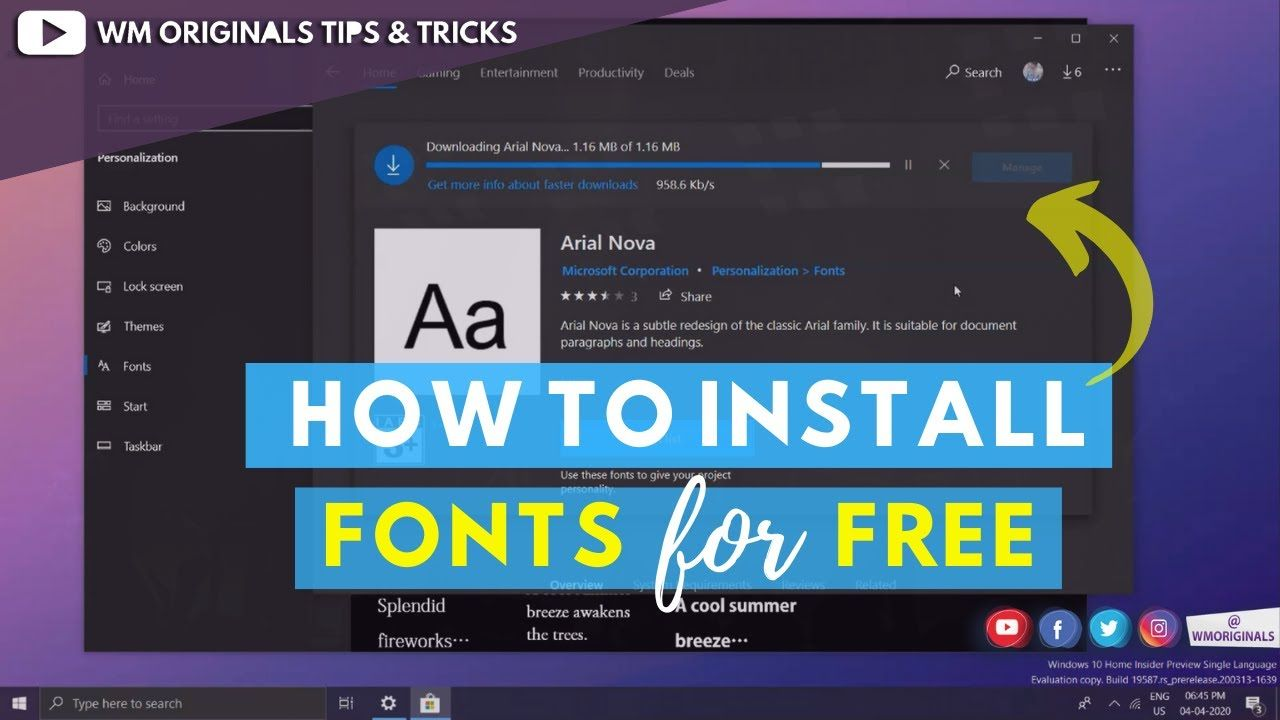 How To Install Fonts In Windows 10 For Free In 2020 Windows 10 Windows 10 Operating System Tech Hacks