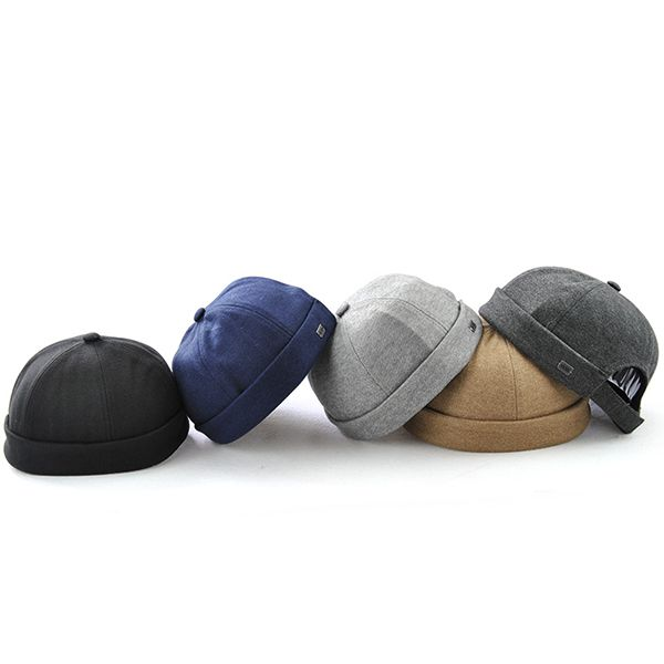 High-quality Men Solid French Bucket Cap Flanging Skullcap Sailor Cap  Rolled Cuff Retro Fashion Brimless Hats - NewChic Mobile 9b1d93fc82f4