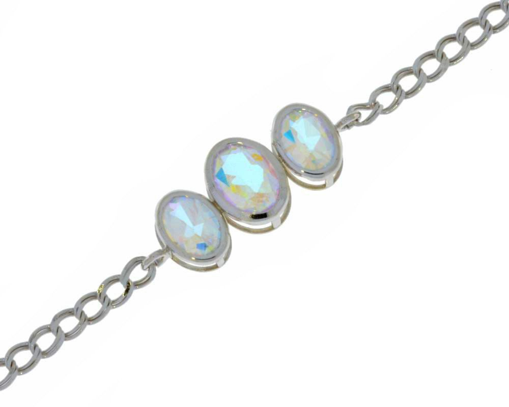3.5 Ct Created Alexandrite Oval Bezel Bracelet .925 Sterling Silver Rhodium Finish 1LsdahZ48
