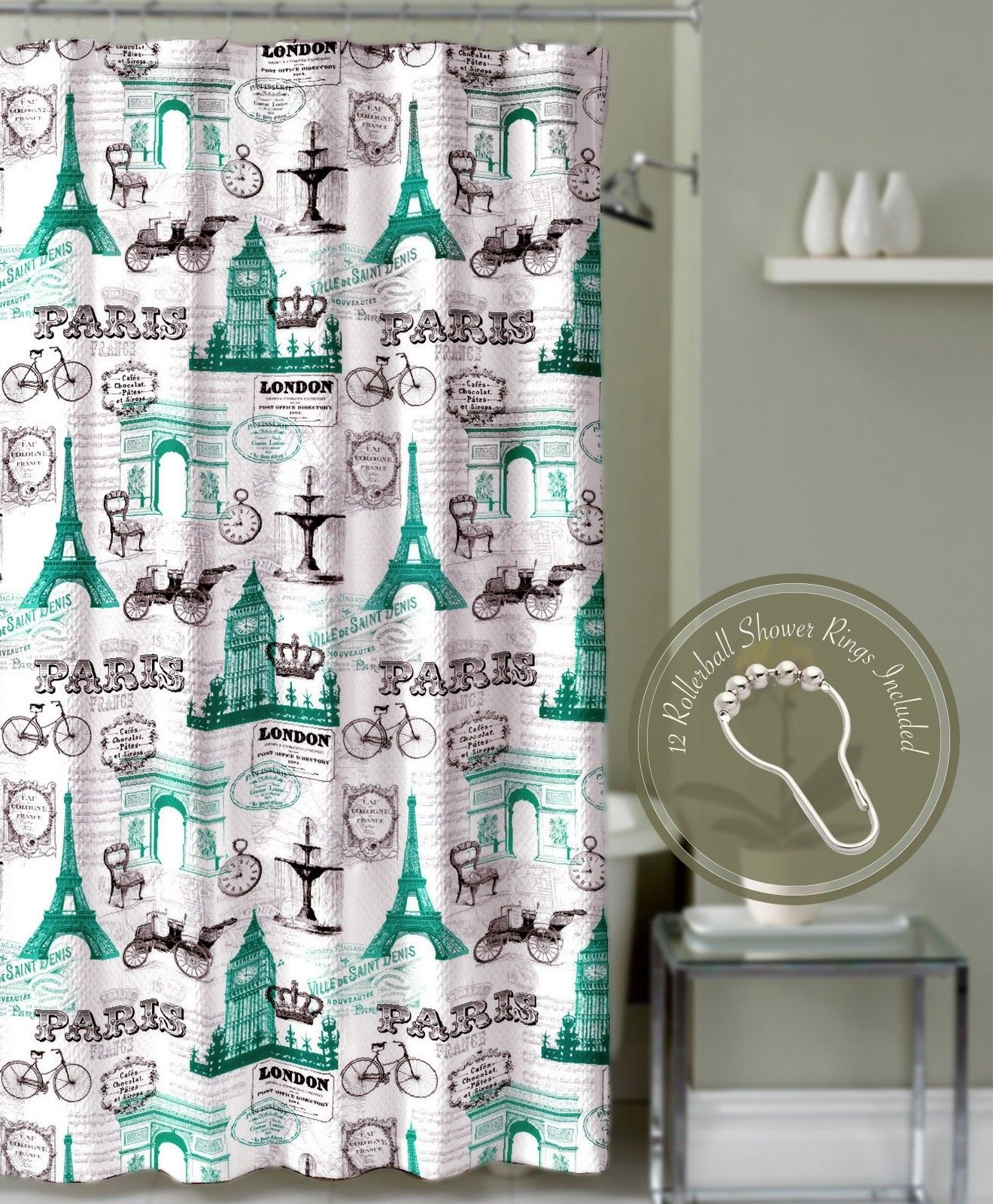 Superb Crest Home Bon Voyage Teal Paris Eiffel Tower Fabric Shower Curtain Set  With 12 Roller Ball Hooks U2013 Shower Curtains U2013 Bed U0026 Bath