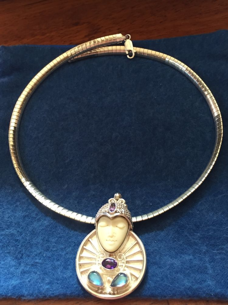 Sajen vintage goddess face circular pendant and 925 sterling silver sajen vintage goddess face circular pendant and 925 sterling silver necklace ebay aloadofball Image collections