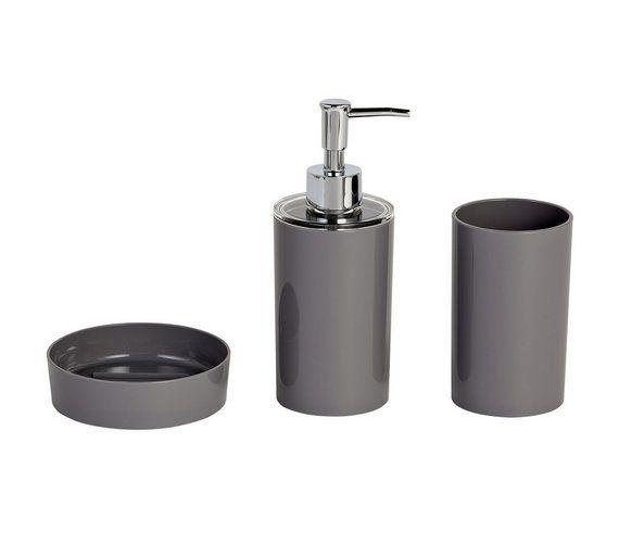 Colourmatch 3 Piece Bathroom Accessory Set Flint Grey At Argos Co Uk
