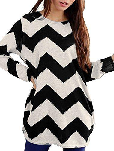 45cb077f493 Allegra K Women Round Neck Long Sleeve Zig-Zag Knitted Shirt Black White XS  Allegra