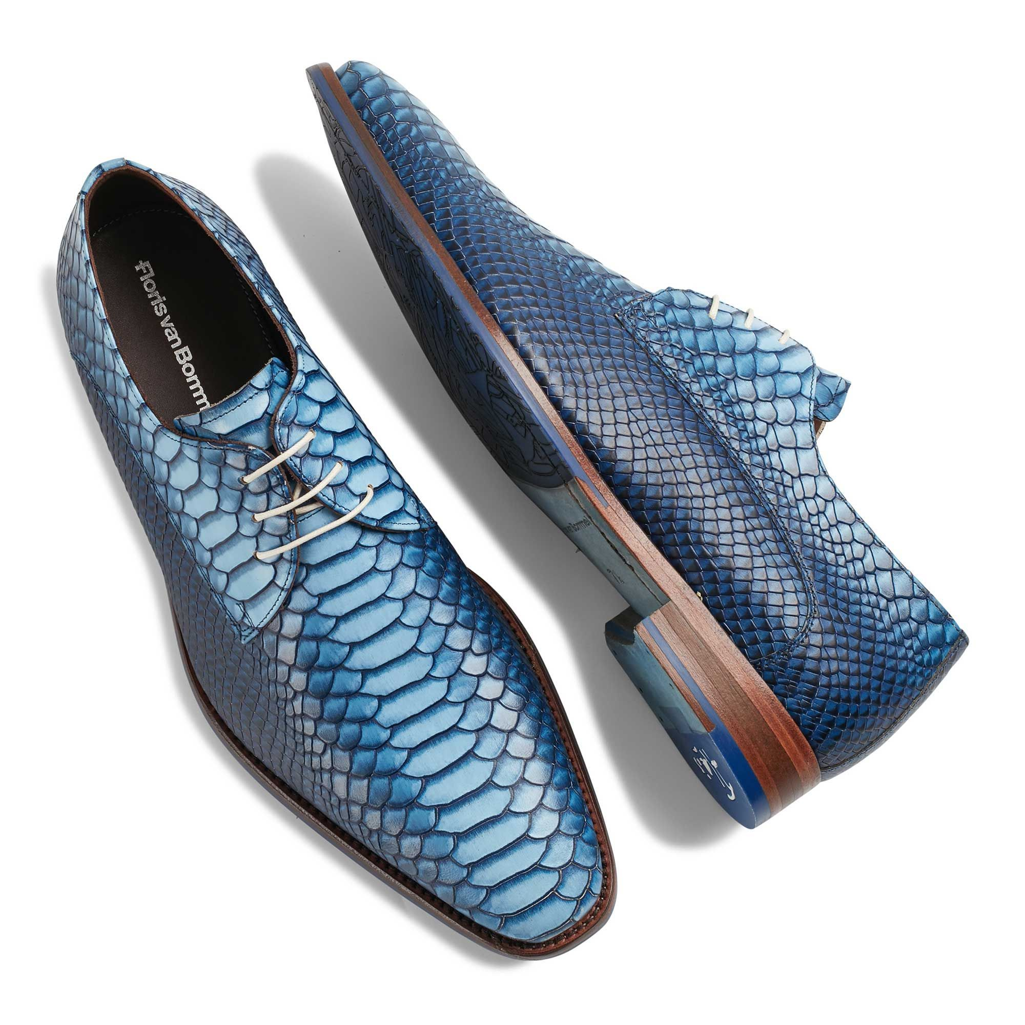 14493 00 Floris Van Bommel Blauwe Leren Snakeprint Heren Veterschoen Leather Shoes Men Dress Shoes Men Boots Men [ 2000 x 2000 Pixel ]