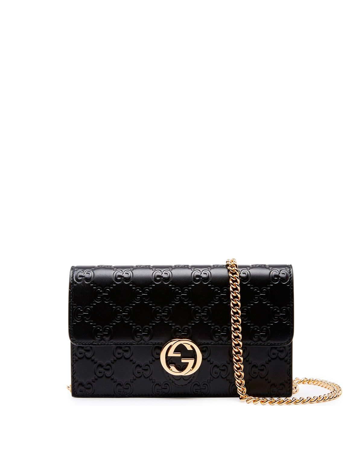 2b32b7b4eb6d Gucci icon wallet in embossed GG leather. Chain shoulder strap, 24