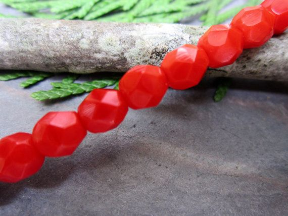 Cherry Faceted Firepolished 6mm Beads