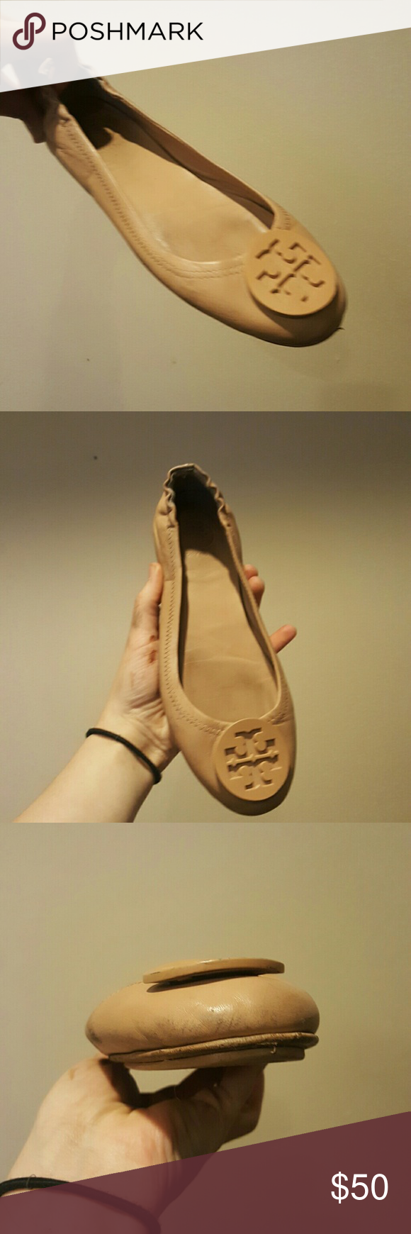 fb057dcfb TORY BURCH MINNIE TRAVEL FLAT NUDE 6.5 TORY BURCH MINNIE TRAVEL FLAT NUDE  6.5 REVA Guc Some wear on soles Tory Burch Shoes Flats   Loafers