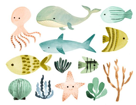 Ocean Clipart Sea Clipart Ocean Animals Clipart Nautical