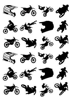 24 Precut Motocross Bike Silhouette Stand Up Edible