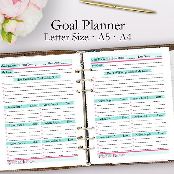 Goal Planner Template Blank Goal Planning Printable Planner Pdf