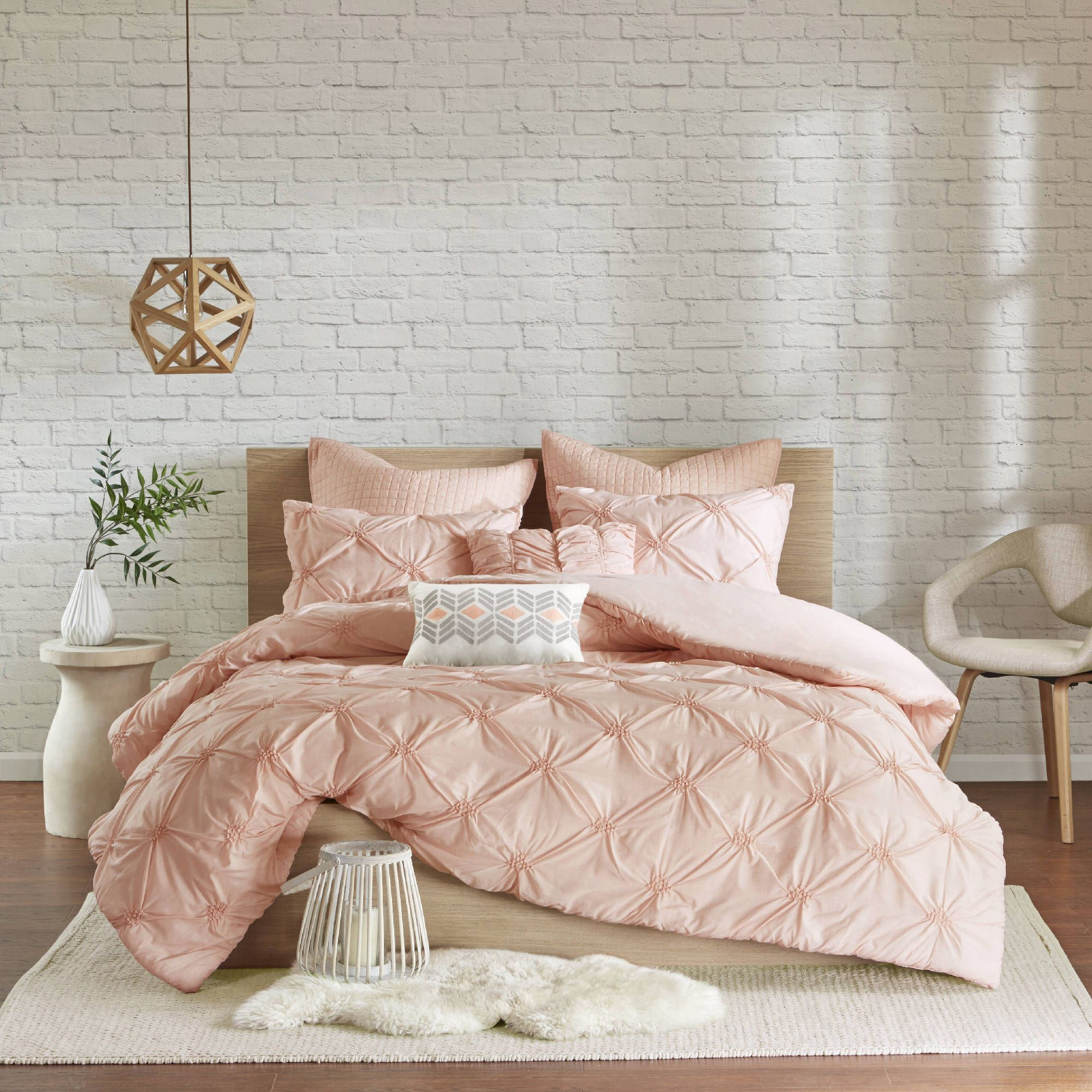 Urban Habitat Callie Pink Embroidered 7 Piece Duvet Cover