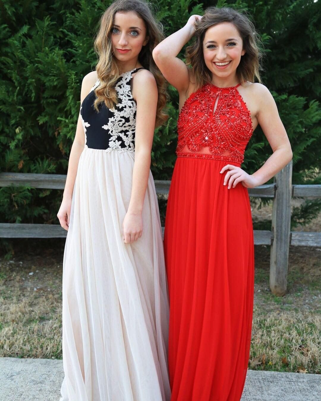 e18c0d390ce Brooklyn and Bailey in long prom dresses! Find your perfect prom night look  at David s Bridal!