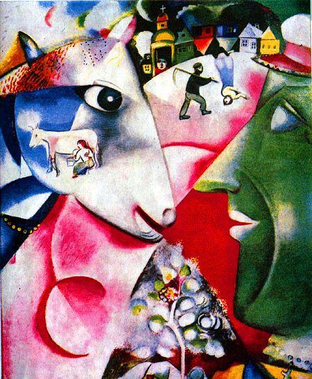 Liven Your Walls Paintings Tierra Este: La Aldea Y Yo (1911), Marc Chagall