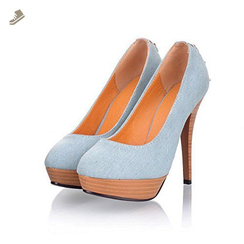 8d15bcfd135e VogueZone009 Womens Closed Round Toe High Heel Platform Fabric PU Soft  Material Solid Pumps