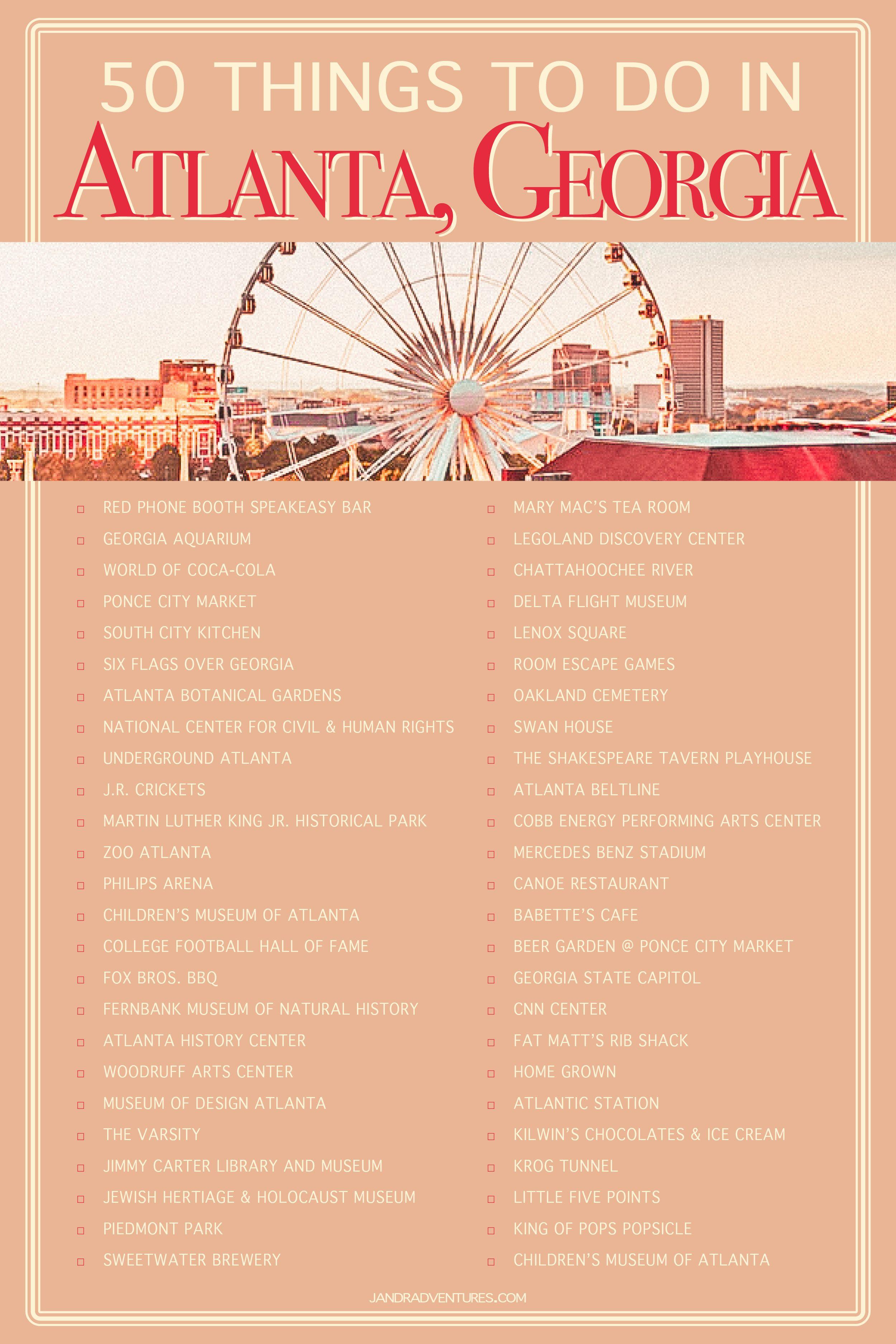 50 Things To Do In Atlanta Georgia Visit Atlanta Atlanta Travel Georgia Travel