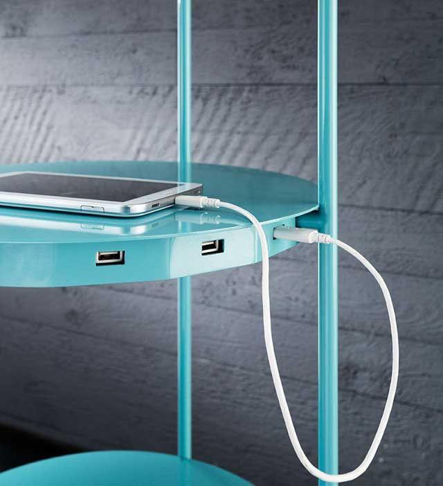 Elegant Level Multifunctional Floor Lamp, Shelf And Device Charger