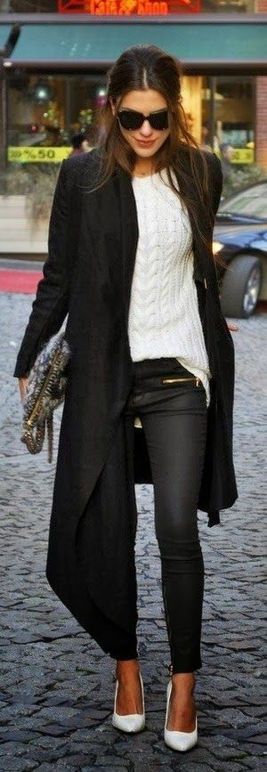 White Sweater With Black Long Coat And Leather Pent