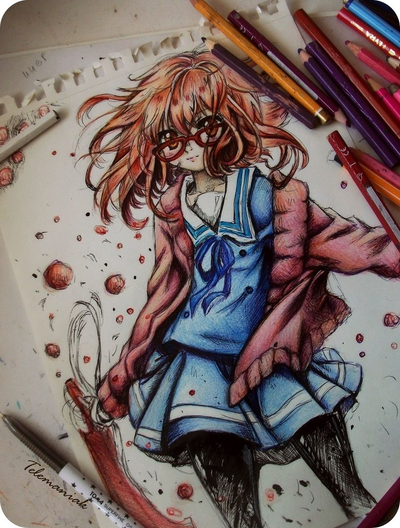 Anime Cute Drawing With Color Pencil Sketch
