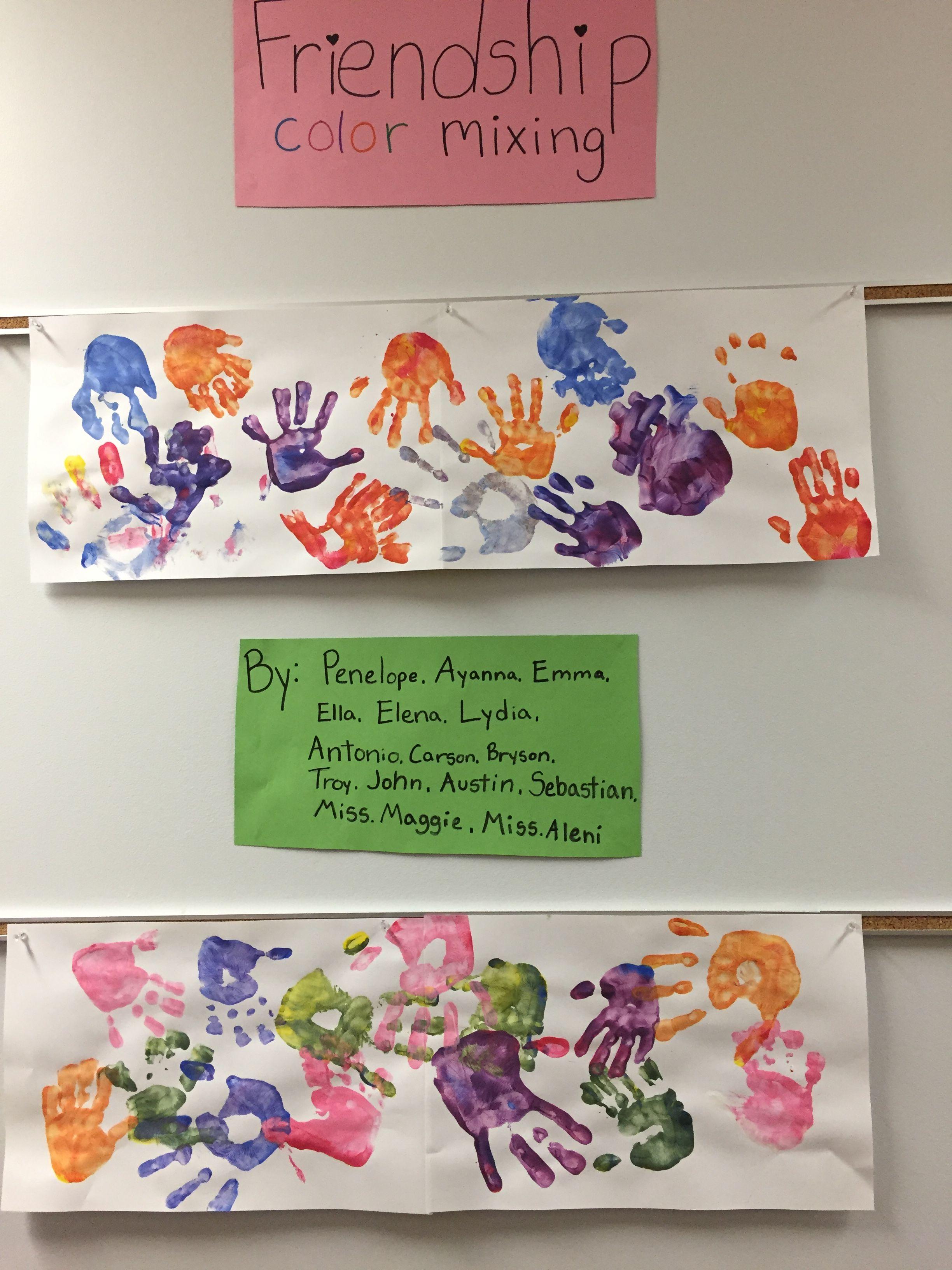 Friendship color mixing with preschool | Preschool | Pinterest ...