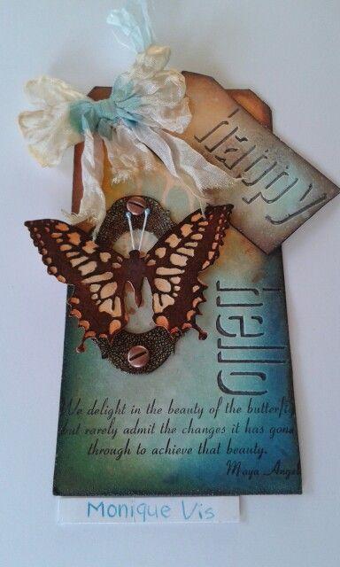 Happy hello met de bigz die butterfly duo en shadowpress debossing folders van Tim Holtz....... Monique