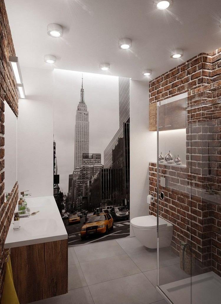 badezimmer im loft stil mit new york fototapete   bad   pinterest