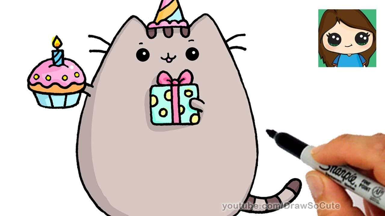 How To Draw Happy Birthday Pusheen Cat Youtube With Images Happy Birthday Drawings Pusheen Cat Anime Drawings Boy