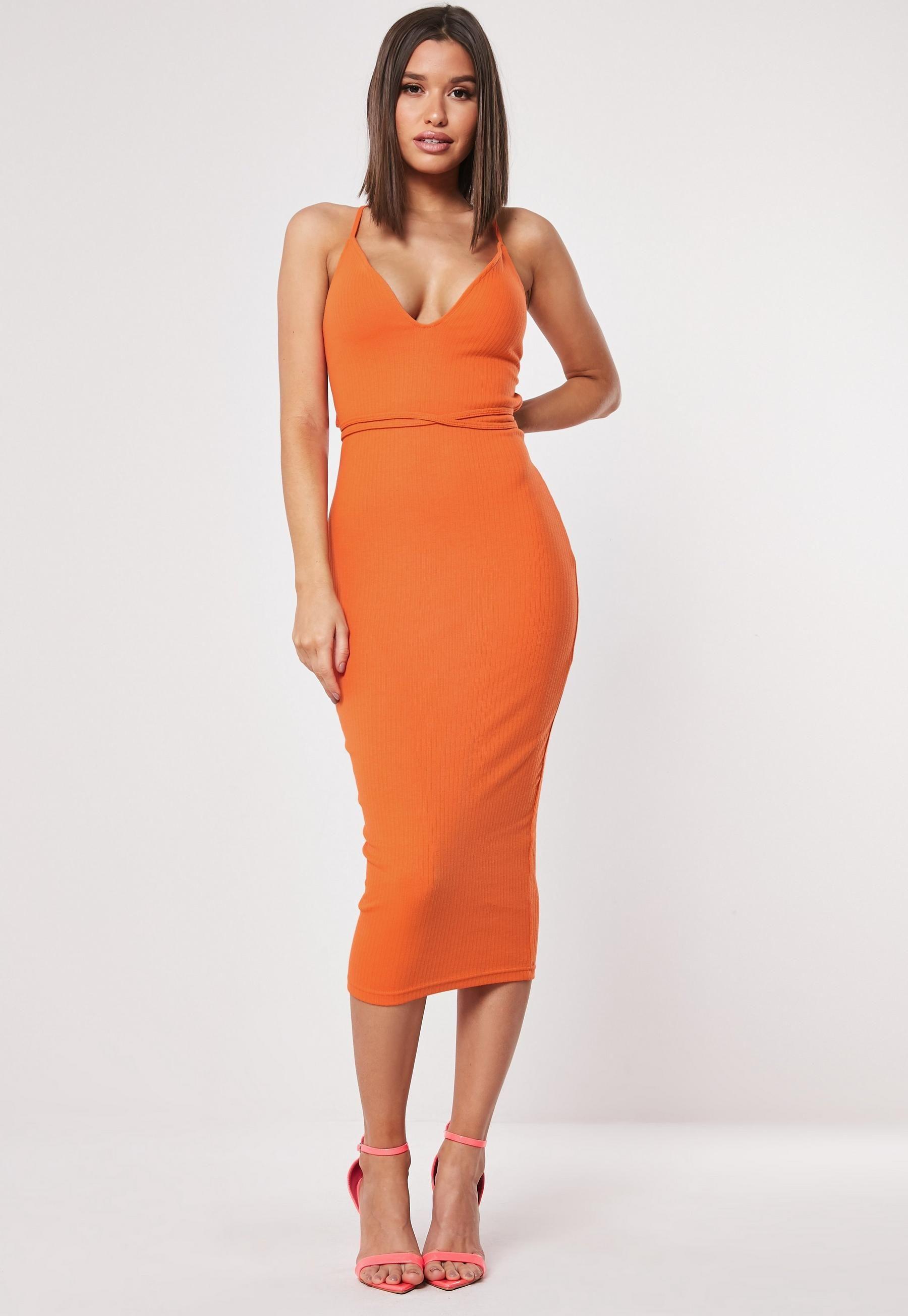 Orange Ribbed Multiway Strap Midi Dress Missguided Chic Bodycon Dress Knee Length Midi Dresses Dresses [ 2608 x 1800 Pixel ]