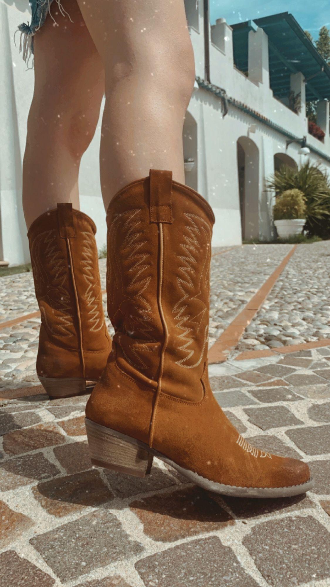 Stivali texani donna cuoio in camoscio con cuciture made in