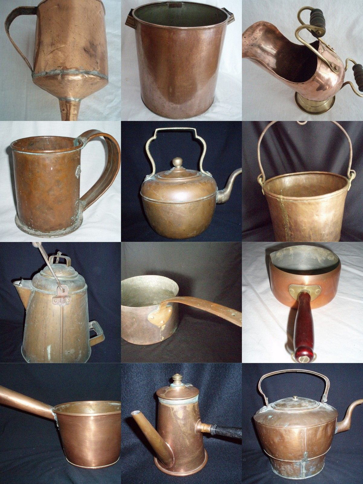 antique copper cookware kettles pots buckets pans. Black Bedroom Furniture Sets. Home Design Ideas
