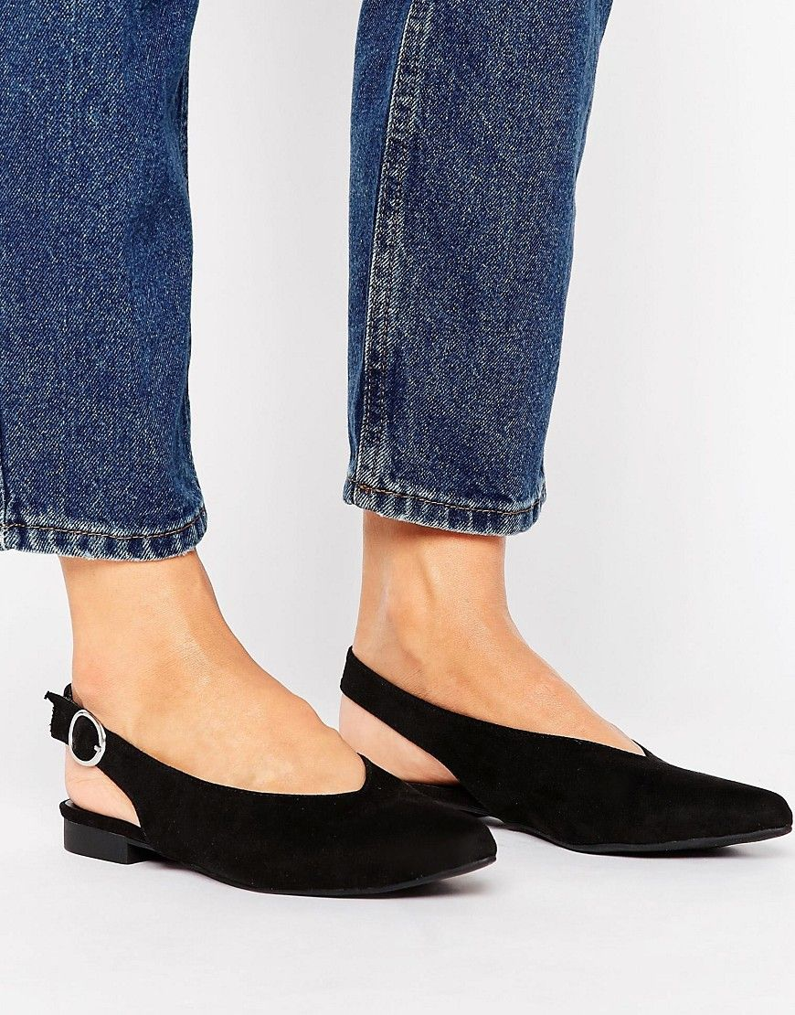 790667a2328e NEW LOOK SUEDETTE SLINGBACK SHOE - BLACK.  newlook  shoes